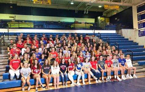 Seniors wearing their college shirts (PHOTO BY GRIMMER)