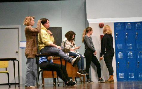 Students performing a week and a day before opening night (November 13) on stage. Pictured Elise Mason (Farm Girl), Chris Wood (The Joker), Kady Rasmussen (The Gossip), Julia McManus (The Actress), and Megan Betts (The Reputation). (PHOTO BY BLACKETT)
