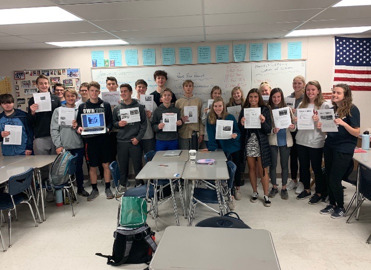 Mr. Hanley's 2nd bell CPUSH (united states history) class holding their Muckraker articles (PHOTO BY MIKE HANLEY)