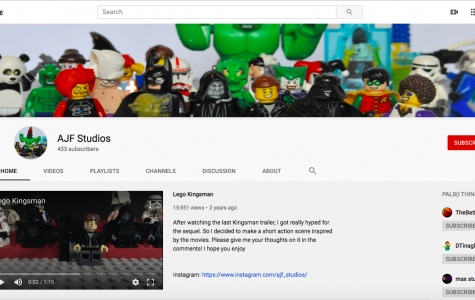 Andrew Foley's YouTube Channel, AJF Studios, has a subscriber count of 433 and counting.