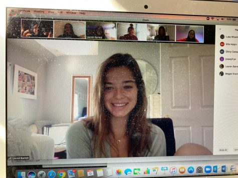 Zoom is one of many ways students and teachers are conferencing remotely.   Jossey Frye (pictured), Megan Kromer, Lauren Barrett, Ellie Halpin, Ginny Ceasar join Mr. Wiseman for a writing conference.