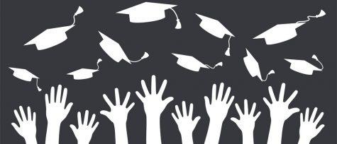 Hands of graduates throwing graduation hats