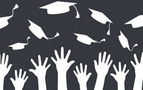 Hands of graduates throwing graduation hats