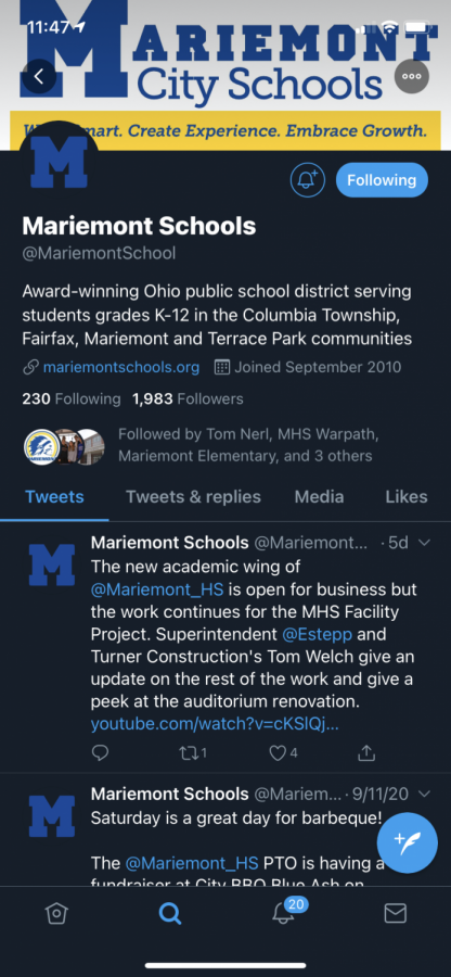 Photo of Mariemont's twitter account following the logo change (SCREENSHOT BY SIMPSON)