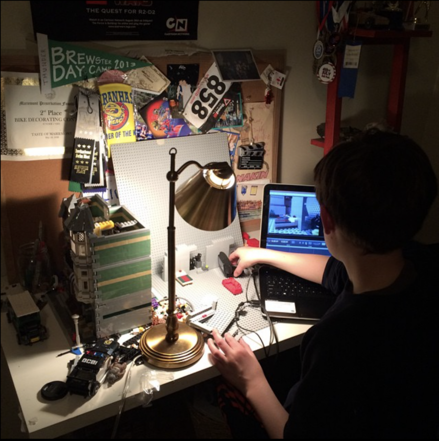 (PHOTO FROM FOLEY) Foley, 12 years old, working on a talent show video.