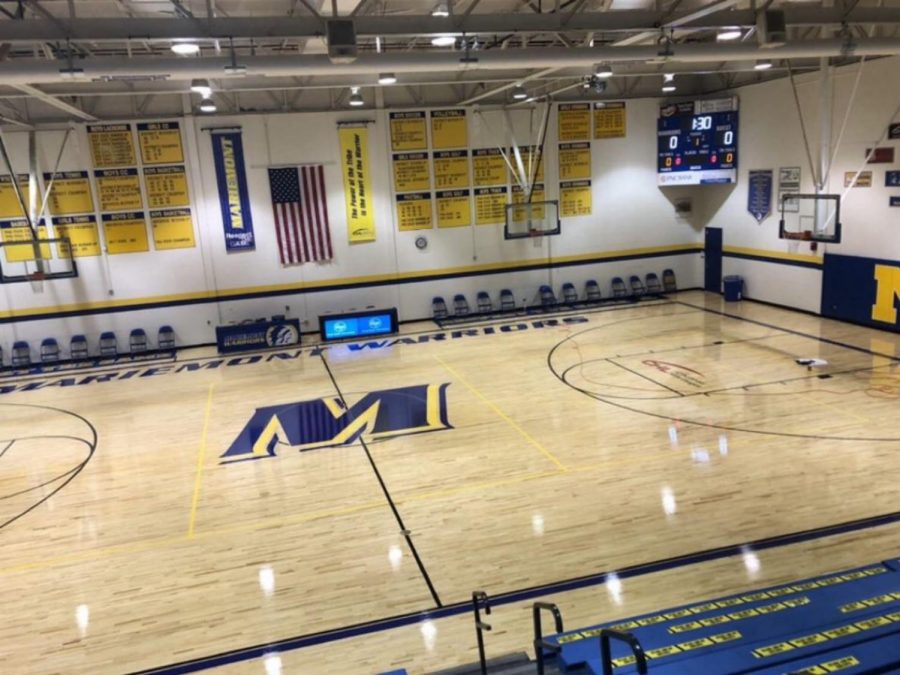 The newly redone basketball court in the main gym.