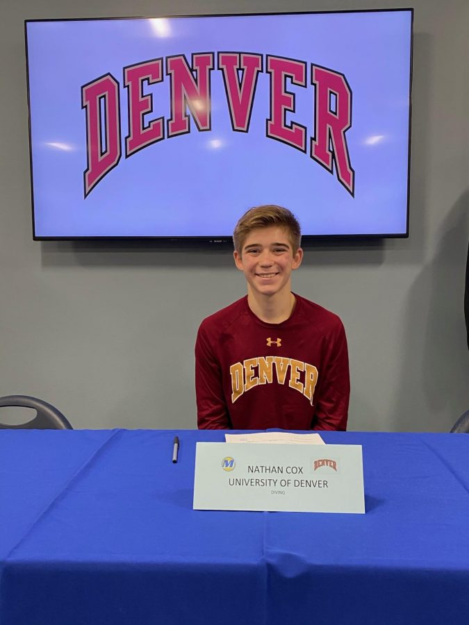 Nathan Cox of November 11, 2020 when he signed his commitment to dive for the University of Denver.