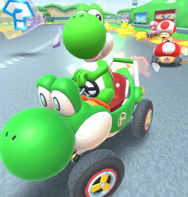 Yoshi the dinosaur, popular and cute Mario Kart character.