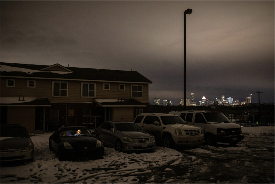 Part of Austin, Texas a midst a power outage (PHOTO FROM The New York Times)