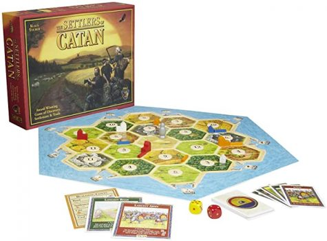 Catan board game. The hexagonal shaped board allows unique gameplay.