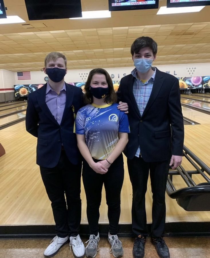 Members+of+the+bowling+team+during+their+Senior+Match+%28Left+to+Right%3A+Zachary+Dutro%2C+Michele+Tetrault%2C+and+Ryan+Stahl%29+%28PHOTO+FROM+%40micheletrault%29
